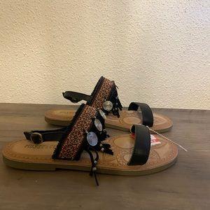 Musse & Cloud black leather strap sandals